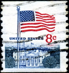 United States. White House and Flag. Timbre postal.