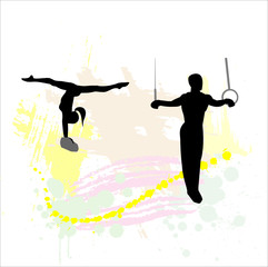 Silhouette of the sport gymnast on abstract background.