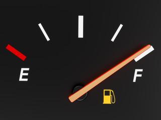 A closeup of a car fuel gauge showing full