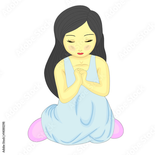 A Cute Little Pretty Girl Kneeling and Praying