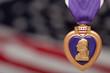 Purple Heart Against Americal Flag