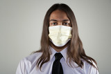 Man wearing a breathing mask poster