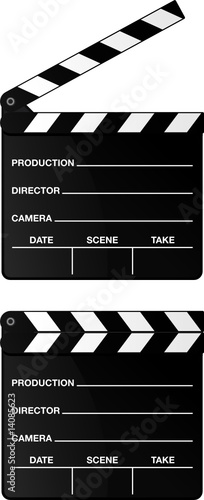 Movie clapper board set isolated on white background