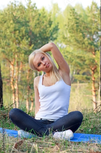 woman in yoga position, outdoor