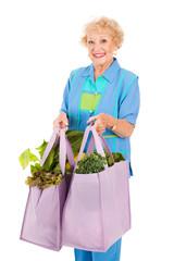 Senior Lady Shops Green