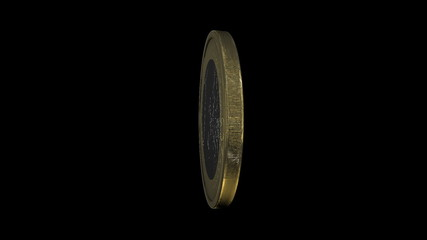 One euro coin in verticel rotation with aplha