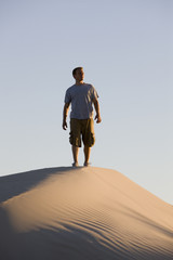 Man Hiking in the Desert
