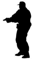 poliziotto che spara (vettoriale)