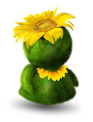 Cute green person clothed with flowers