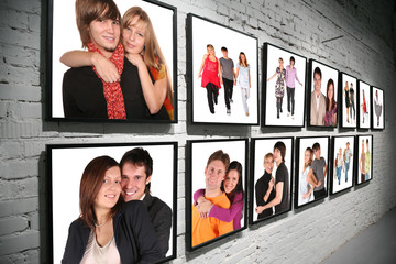 two rows frames with people on brick white wall collage