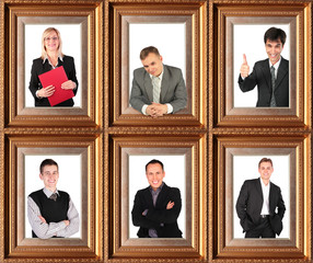 Framed portraits of successful bussinessmen.