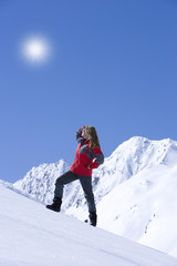 Frau, Winter, Berge, Sonne
