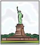 Statue of Liberty in New York. Vector Illustration