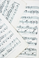 Macro of three sheets of music