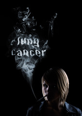 """young women smokes and in the smoke appears """"Lung Cancer"""""""