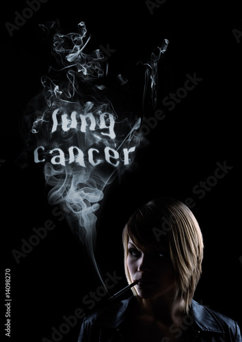 "young women smokes and in the smoke appears ""Lung Cancer"""