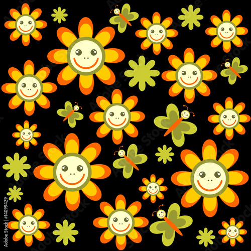 cartoon flowers background. cartoon flowers background