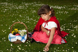 Red riding hood picking daisies