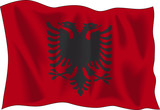 Waving flag of Albania isolated on white background poster