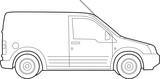 Illustration of  a van, line drawing on white