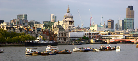 View over the Thames London England UK to St Pauls Cathedral