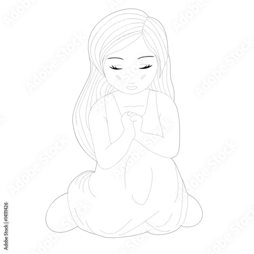 Sketch of A Cute Little Pretty Girl Kneeling and Praying