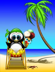 Pinguino al mare-Penguin at Beach-Pingouin à la Plage