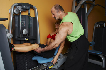 two bodybuilders in gym