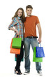 Shopping couple smiling. on white background