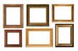 Leinwanddruck Bild - Genuinly antique frames isolated on white.