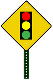 Traffic light sign against white background