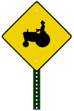 Isolated Tractor Sign on white background