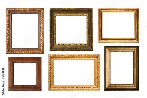 Leinwanddruck Bild Genuinly antique frames isolated on white.