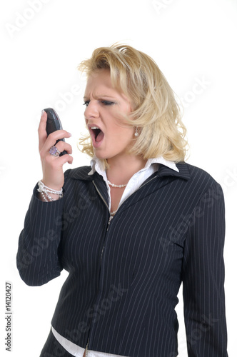 woman with phone shows a emotion