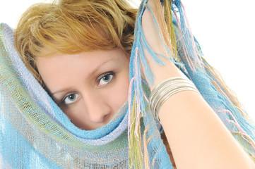 happy woman scarf