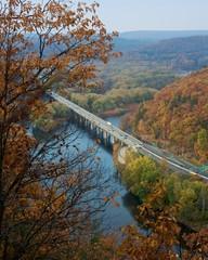 Fall leaves frame highway bridge