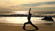 Yoga triangle pose at sunset - HD