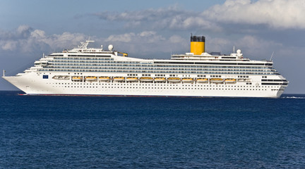 Large cruiser sailing outside Rhodes island in Greece