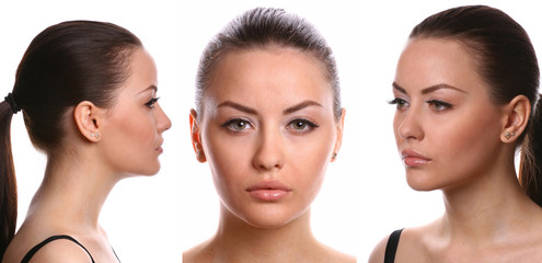 3 views of the female face