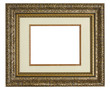 Golden antique picture frame with matting.