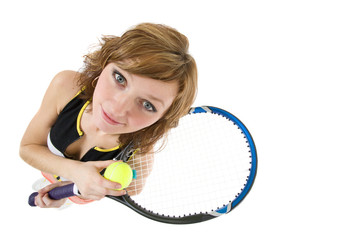 girl with a tennis racket and a ball