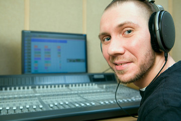 man in the music studio