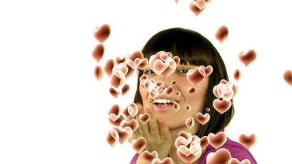 young woman blowing a kiss with animated heartshapes 3d