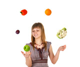 Woman juggling with fruits and vegetables poster