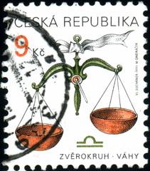 Ceska Republika. Balance. Zodiac. Stamp.
