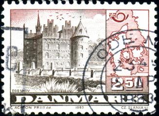 Danmark. Egeskov. Timbre postal oblitéré. 1983.