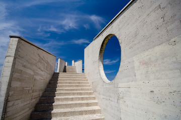 stairs with blue sky