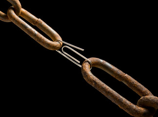 Old chain and new paperclip