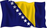 Waving flag of Bosnia and Herzegovina isolated on white poster