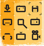 Urban icons for media resources. Vector illustration. poster